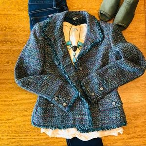 Rafaella Tweed Wool Blend Multicolor Blazer